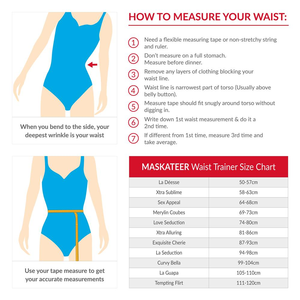 Womens Waist trainer size chart - waist cincher, corset, body shaper, slimming belt