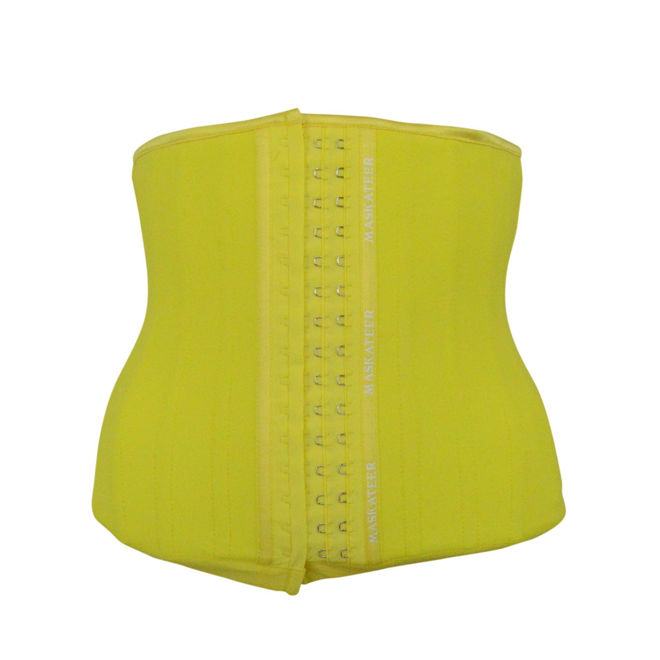 yellow_waist_trainer_rubber_latex_25_steel_bones_best_uk_shapewear_corset_cincher_body_shaper_slim_slimming_belt_tummy_torso_ab_abs_belly_fat_lose_weight_loss
